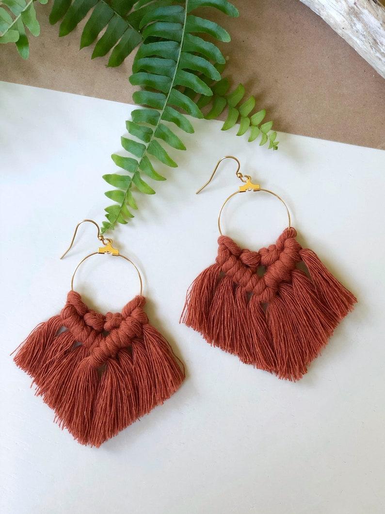 Sonya Earrings Macrame Jewelry Bohemian Jewelry Macrame Earrings Gift For Her Boho Dangle Earrings Statement Earrings Fringe Earrings