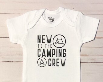 New to the camping crew onesie, baby shower gift, camping onesie, adventure onesie, campfire