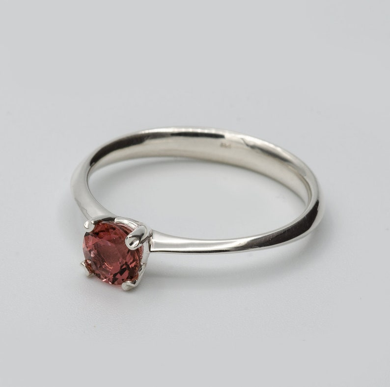 set with red tourmaline natural stone bridal ring womens ring 925 sterling silver Solitair ring