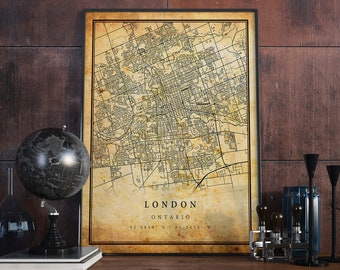 London Vintage Map Poster Wall Art