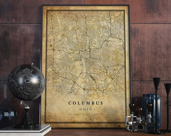 Columbus map | Etsy