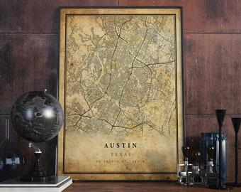 Austin map art   Etsy