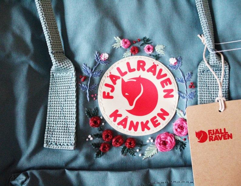 Floral hand embroidered fjallraven kanken backpack