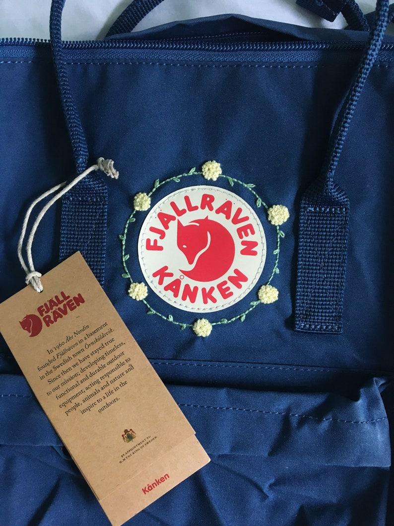 custom kanken Customizable yellow flower hand embroidered fjallraven kanken backpack