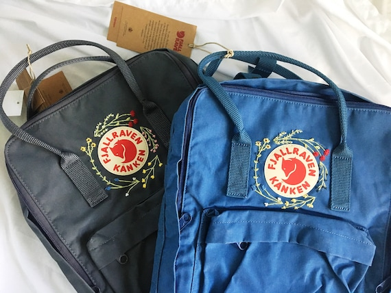 Customizable wildflower hand embroidered fjallraven kanken backpack
