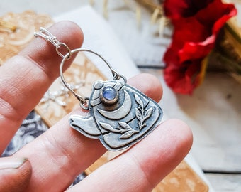 PREORDER TEAPOT KETTLE Talisman Necklace Moonstone 925 Sterling Silver Witch Tea Coffee Leaf Moon Amulet Pendant Gemstone Crystal Botanical
