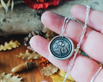 PREORDER Poppy PAPAVER Somniferum TALISMAN Necklace - 925 Sterling Silver Wax Seal Stamp Amulet Pendant Coin Medal Botanical jewelry Read