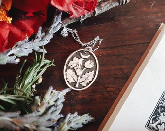 PREORDER DATURA STRAMONIUM Necklace 925 Sterling Silver Herb Witch Amulet Pendant Talisman Folk Tales Wicca Exclusive Botanical Moon jewelry