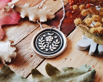 FOLK WITCH Necklace - 925 Sterling Silver Wax Seal Stamp Amulet Pendant Medal Folk Tales Wicca Botanical Moon Night Flower jewelry - READ
