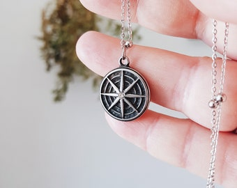 COMPASS STAR Necklace STAINLESS Steel 316 Compass Polar Wind Rose North Pole Crystal Strass Sea Starry Night Witch Bohemian Pendant Talisman