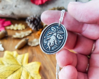 PREORDER MANDRAKE TALISMAN Necklace - 925 Sterling Silver Wax Seal Stamp Amulet Pendant Coin Medal Folk Tales Botanical Stars Moon jewelry
