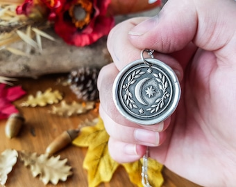 PREORDER MOON TALISMAN Necklace - 925 Sterling Silver Wax Seal Stamp Amulet Pendant Coin Medal Folk Tales Botanical Stars Moon jewelry