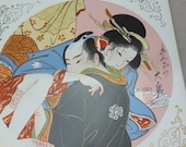 Japanese Antique Rare Ukiyoe Shunga Makurae Porcelain Panel from JAPAN
