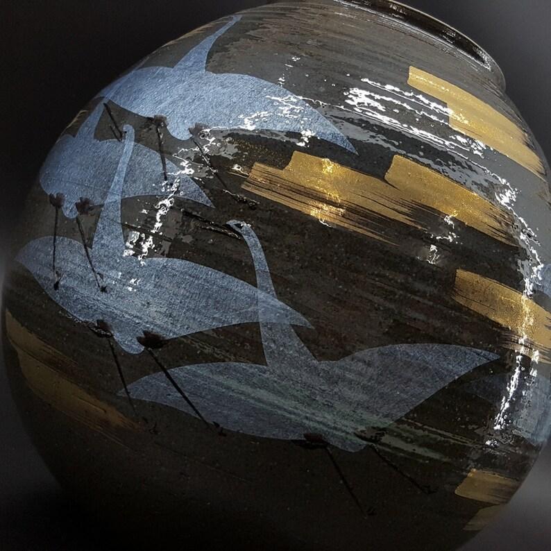 Kutani Koyo Crane Vase 27cm WBOX from JAPAN