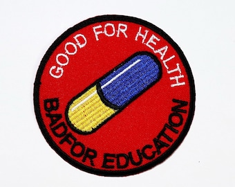 a2aec4c75ff Akira patch Good for Health Bad for Education Emo Pill Japan Anime Applique  DIY Clothes Jeans Jacket backpack Embroidery Iron on Patch