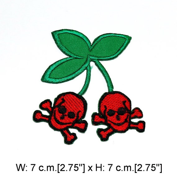 Double Skulls Red Rose Tattoo Punk Rock Embroidered Iron on Patch Free Postage