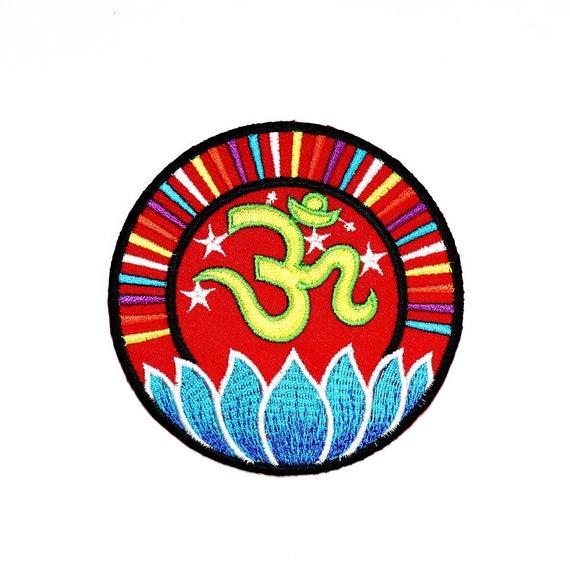 Om Au Patch Ohm Hindu Religion Lotus Lucky Symbol Hippie Etsy