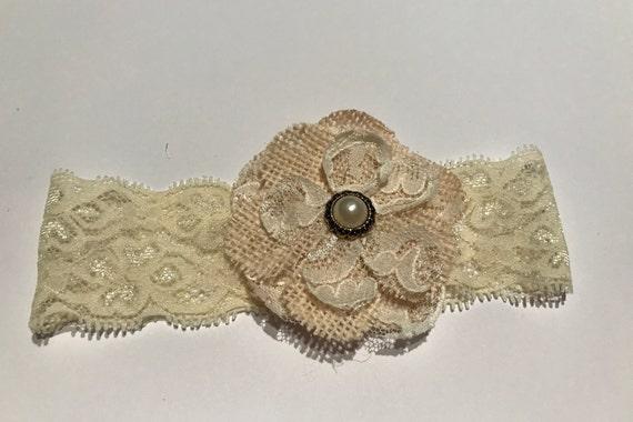 Cream lace headband