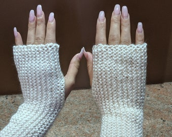 Knitted Fingerless Mitts, Arm Warmers, Gloves, Winter Accessories, Mittens