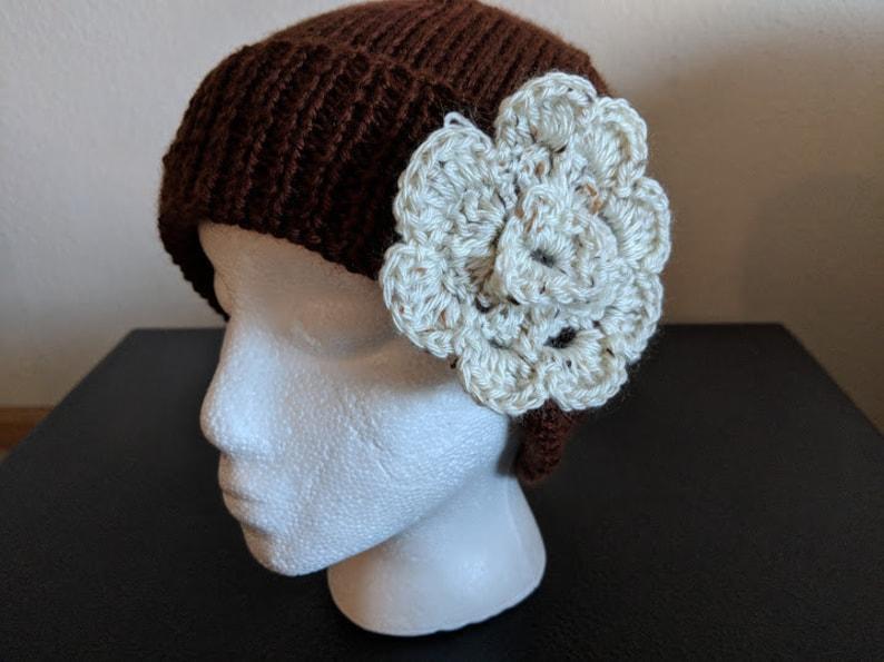d3e022d27b9 Knitted Brown Skullcap CreamBrown Flower Christmas Gifts