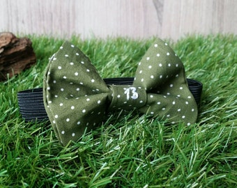 "Bow tie Green Khaki with white dots and embroidery ""13"""