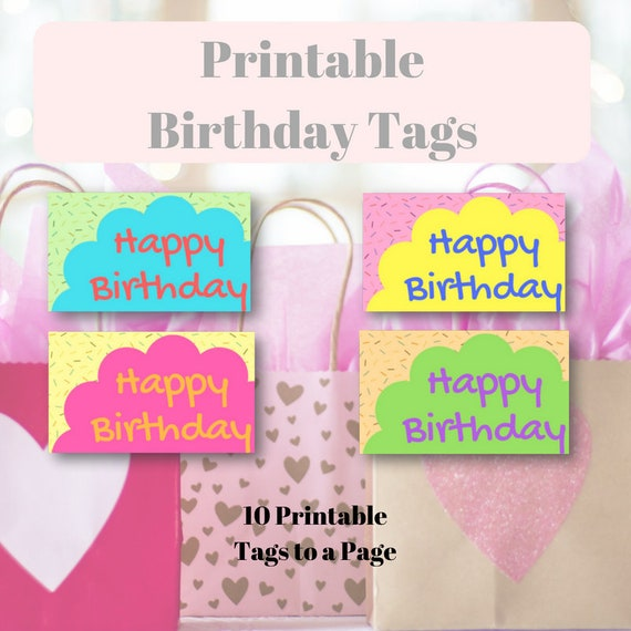 photo about Printable Birthday Tags named Printable Joyful Birthday Tags
