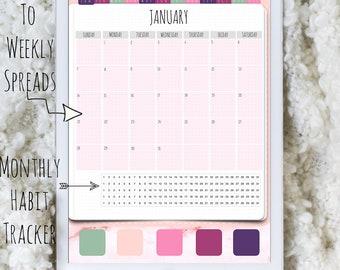 Digital Planner - PHOEBE - Portrait Bullet Journal   Dated   Monday Start   January - December 2018   Goodnotes Planner