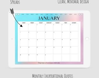 Digital Planner - VIVIAN    Monday Start   Dated - January to December 2018     Landscape Layout    Digital Bullet Journal