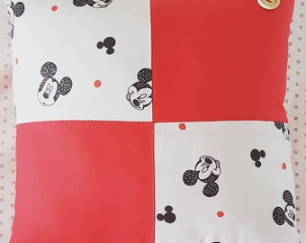 Oh Boy Mickey Patchwork on Raspberry Red