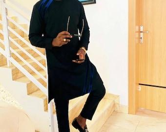 Oji African men shirt and a matching pant set/African clothing/African men clothing/African men shirt /dashiki/summer/prom/groom suit