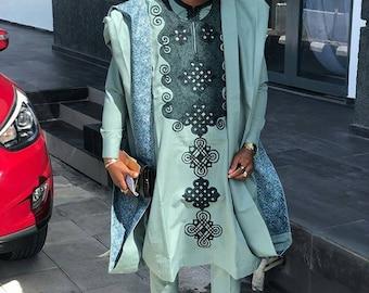 Sile African agbada set, matching shirt and pant/African clothing / African men clothing / wedding suit/groom suit/dashiki