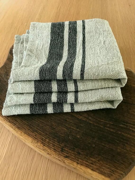 Rustic kitchen towels, Set of 2;3;4 Heavy Linen tea towels, dish towels,  kitchen towels, black light beige striped linen towels