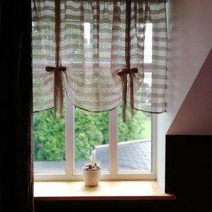 natural linen curtains French style curtains. Striped ballon Tie up valance Striped Linen valance Gardine leinen farmhouse curtains