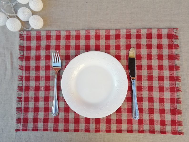 Set of 4;6 Red Linen Placemats with Fringes Red Checkered Placemats with Fringes Linen Placemats