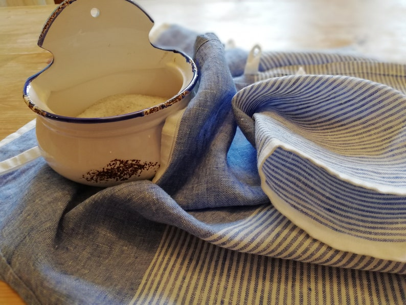 0bcaccf7de Striped Linen Tea Towel Set of 234 Stone Washed Heavy Flax
