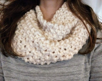 Knitted Cream Colored Infinity Scarf