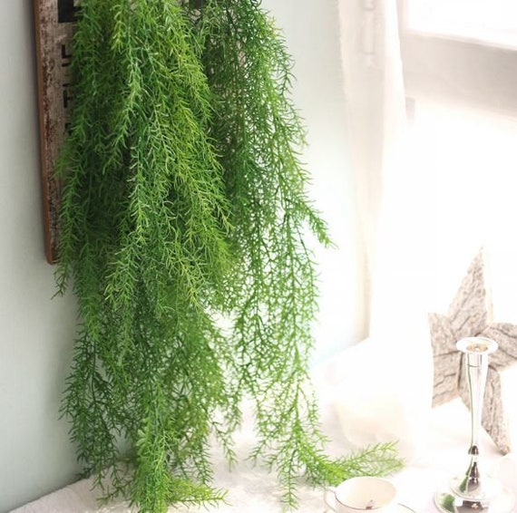 1 Stem Artificial Hanging Plant Faux Leaves Grass Greenery Etsy