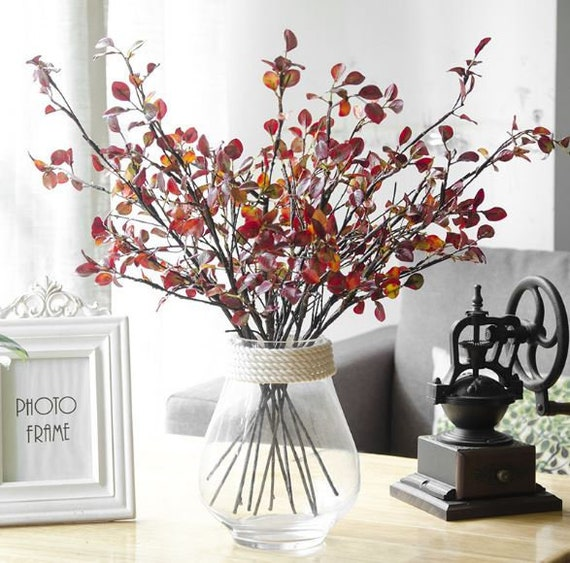 Artificial Foliage Red Faux Leaves Autumn Fake Plant For Craft Etsy