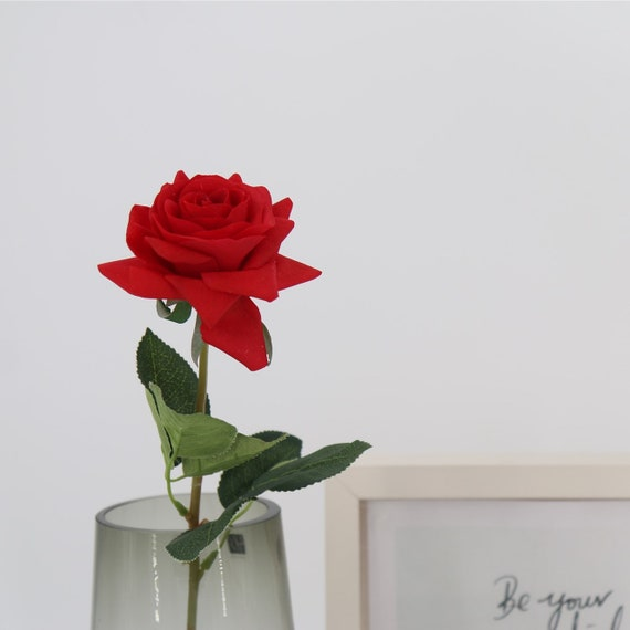 1 Stem Artificial Rose Stem Real Touch Fake Red Rose Silk Etsy