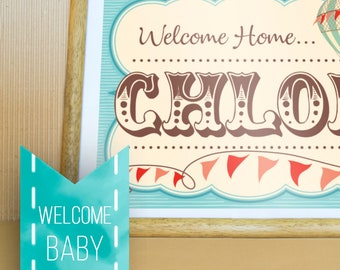 Welcome baby sign. New born poster. Hot air balloon. Vintage. Customized. Digital Design.