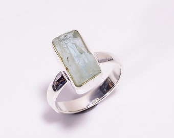 Unique Two Stone Natural Raw Aquamarine Ruby Fancy Shape 925 Sterling Silver Rings Handmade women Size US 9 Adjustable