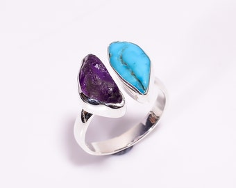 Superb Fancy Shape Natural Raw Azurite Gemstone 925 Sterling Silver Rings Handcrafted Women Size US 7.25