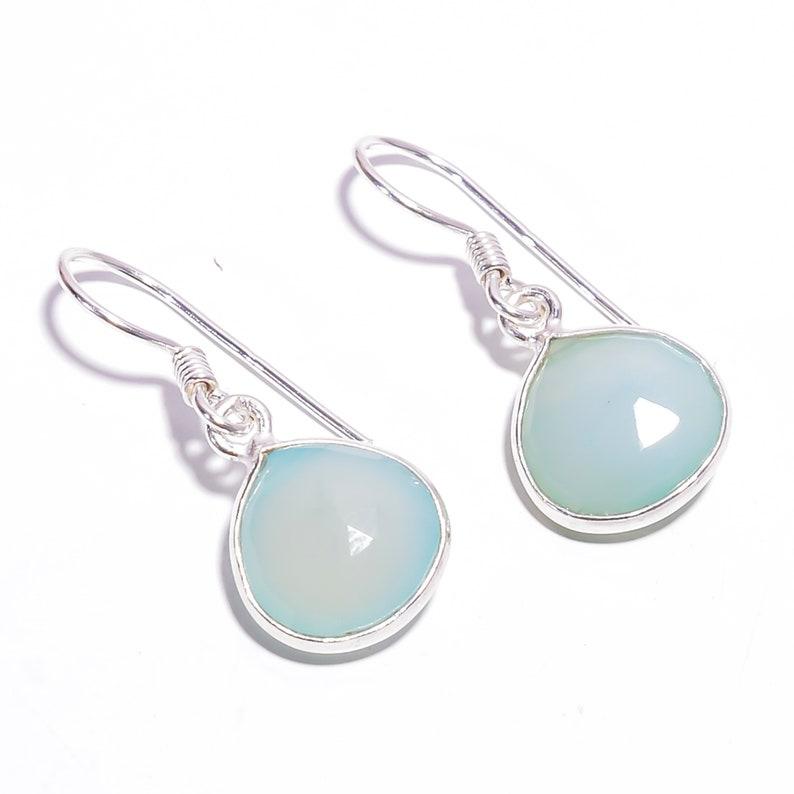 Stunning Genuine Heart Shape Natural Chalcedony 925 Sterling Silver Handmade Earrings Women/'s Jewelry