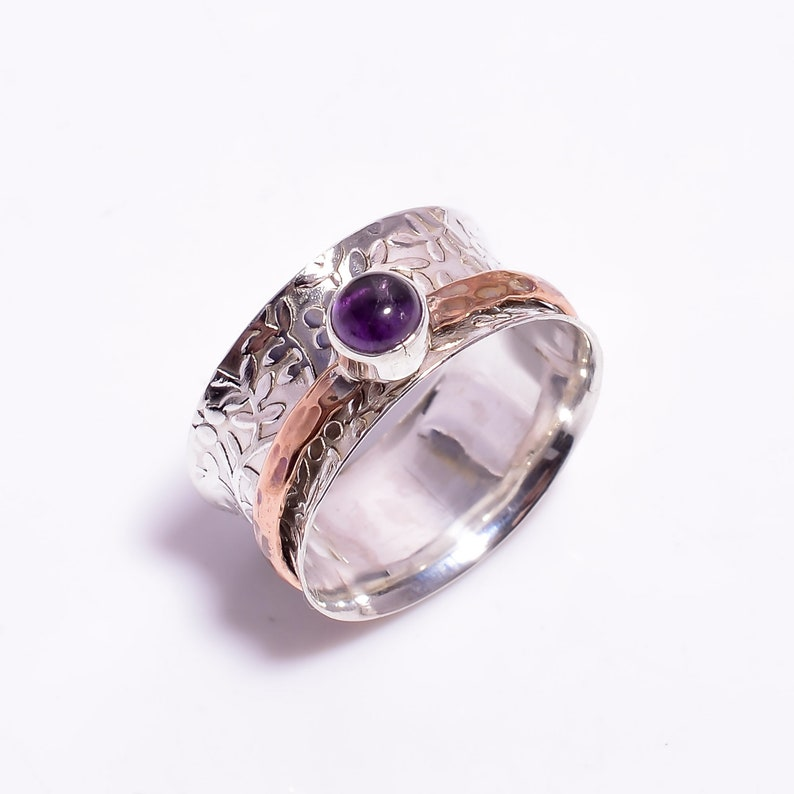Amethyst Leaf Textured Wide Band Ring Silver Ring Handmade Ring Boho Ring Everyday Ring Women/'s Ring Jewelry Size US 11.25