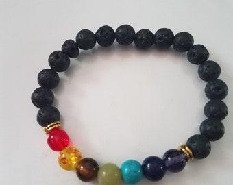 7 Chakra bracelet with lava rocks