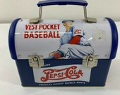 Vintage Pepsi Metal Lunch Box Baseball Player 50s 60s Retro Tin Can Case Purse