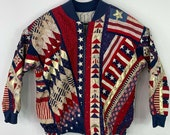 Vintage 90s Handmade Quilted Patches Patriotic 500 Year Anniversary Discovery of America Bomber Jacket Sweaters Medium