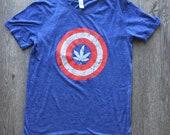 Anvil Captain America Marijuana Superweed Blue Runtime Men 39 s T Shirt Size Medium