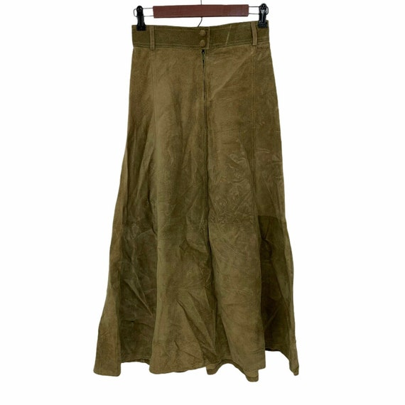 Vintage Suede skirt sz 10 midi Coldwater Creek lined pale olive green