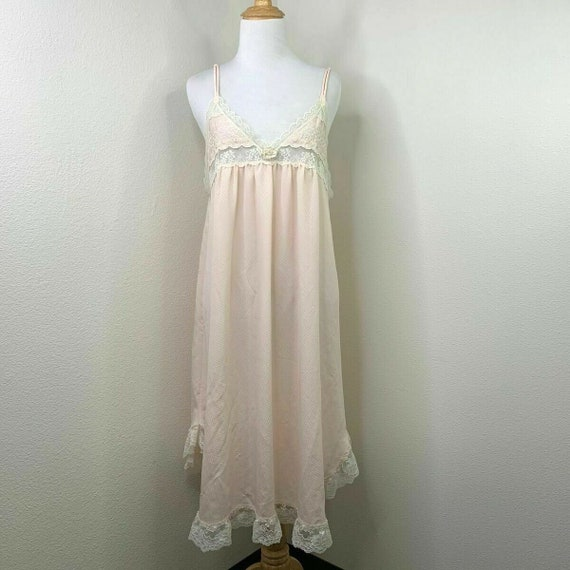 Vintage Christian Dior Nightgown Size M Lace Trim